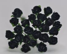 8mm MIDNIGHT BLUE (Black) SEMI-OPEN ROSE BUDS Mulberry Paper Flowers